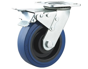 Heavy Duty Blue Elastic Rubber Caster Swivel Plate with